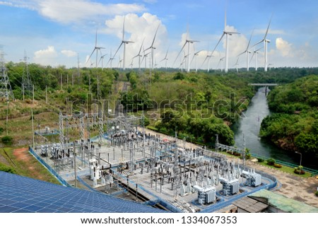 Wind turbines for electricity generationSolar Power Station ,electric pole,wind turbine  #1334067353