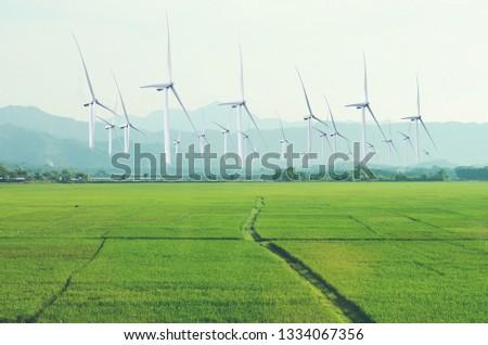 Wind turbines for electricity generationSolar Power Station ,electric pole,wind turbine  #1334067356
