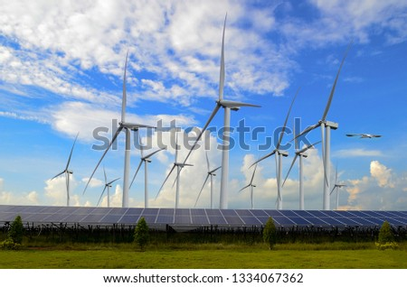 Wind turbines for electricity generationSolar Power Station ,electric pole,wind turbine  #1334067362