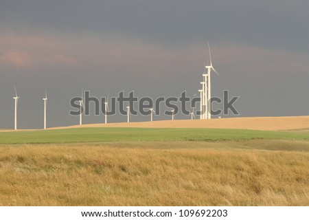 Wind turbines generating green renewable electricity
