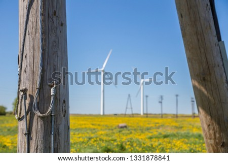 Wind turbines in a field in spring. A field of dandelions. Poles for transportation of electricity. #1331878841