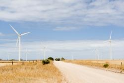 Wind turbines in a wind farm in rural Australia