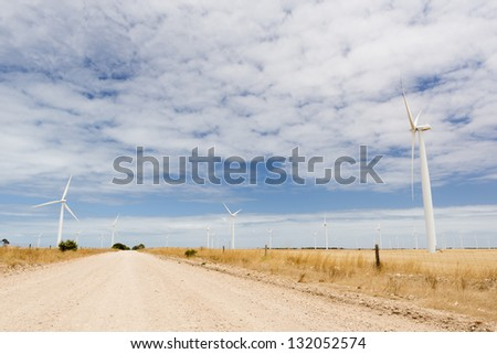 Wind turbines in a wind farm in rural Australia