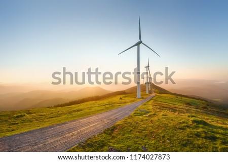 wind turbines in eolic park