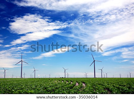 Wind turbines in green farm field