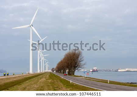 Wind turbines in harbor of Rotterdam, the Netherlands