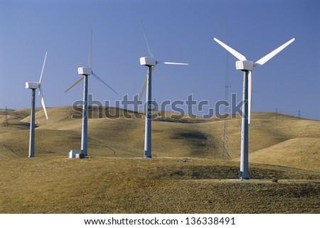 Wind turbines in line
