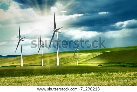 Wind turbines in mountain