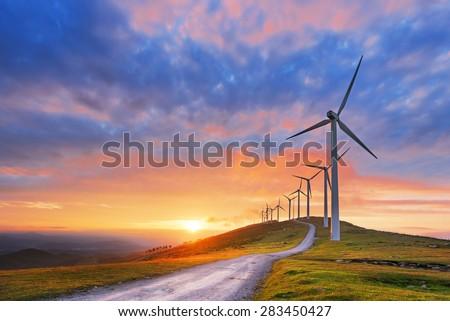 wind turbines in oiz eolic park ...