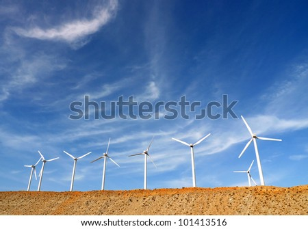 Wind Turbines in Palm Springs, California, USA, generating clean power