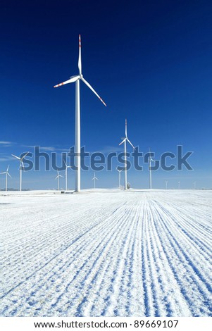 Wind turbines in snow