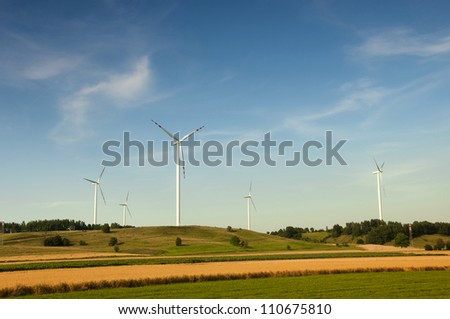 Wind turbines in Suwalki. Poland
