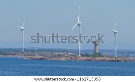 Wind turbines in the baltic sea. Renewable energy. Finland seascape #1162713358