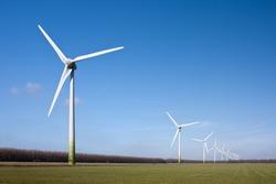 Wind turbines in the farmland of Flevoland, the Netherlands