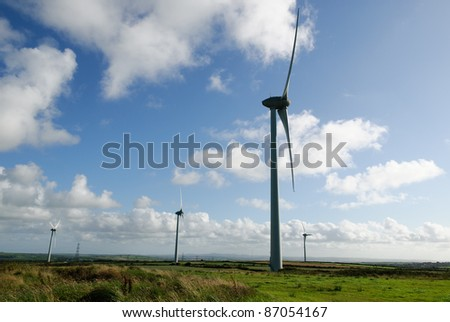 wind turbines in the landscape of cornwall