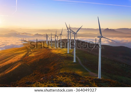 wind turbines in the Oiz eolic park