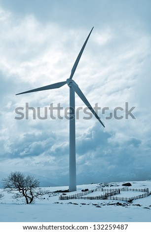 wind turbines in the snow in blue toning