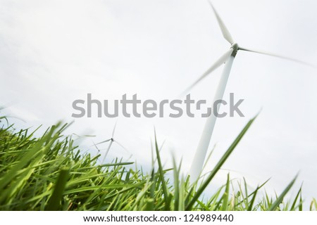 Wind Turbines in wind farm field