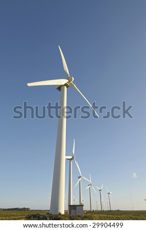 Wind turbines isolated against the sky