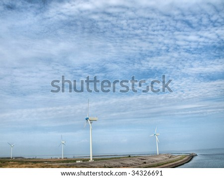 wind turbines landcape in the North of the Netherlands