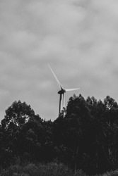 Wind turbines landscape photography and portrait. Color and balck and White. Lousã, Portugal.
