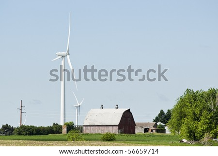 wind turbines located on farmland near Lake Benton Minnesota with transmission lines in the background