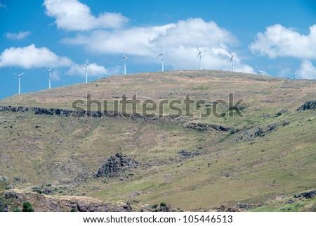 Wind Turbines on a barren hillside