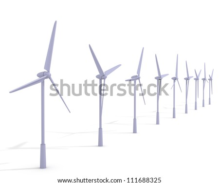 Wind turbines on a white background