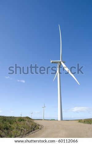 Wind turbines on a wind farm in Scotland, Europe.