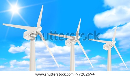 Wind Turbines on beautiful clouds background with sunshine