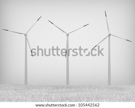 Wind turbines on gray background