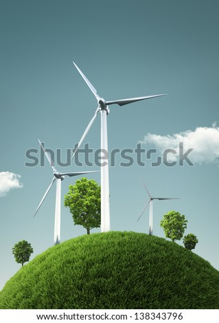 Wind Turbines on green fields and shiny blue skies -  Green Energy Concept - Illustration