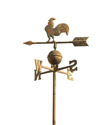 wind vane to indicate the wind direction and the metal cock above the arrow and cardinal points North East South West