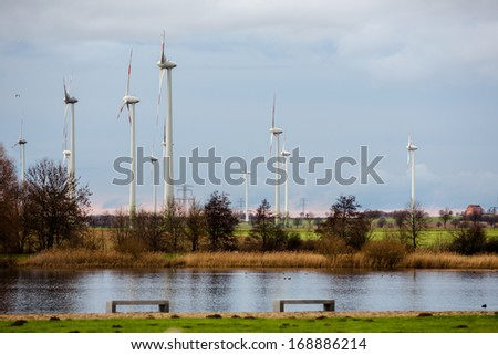 wind wheels in the background of a sea -  Salzgitter, Germany