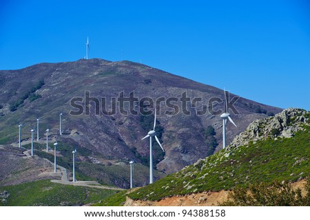 Wind wheels in the mountains of Crete/Greece - stock photo