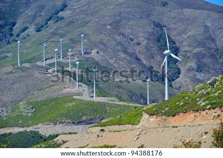 Wind wheels in the mountains of Crete/Greece
