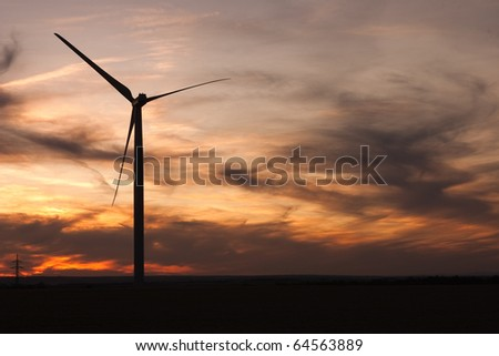 Windfarm and sky with volcanic dust