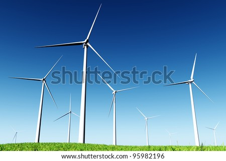 Windfarm in Meadow 3D render