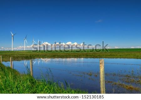 Windfarm in the scenic prairies, Alberta Canada