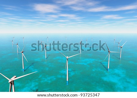 Windfarm in the sea 3D render
