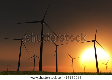 Windfarm in the Sea 3D render sunset