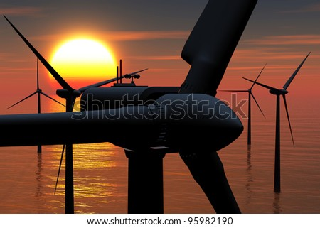 Windfarm in the Sea sunset 3D render