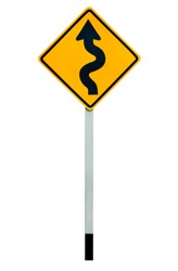 Winding ,curve or maze road sign or traffic sign isolated on white background with clipping path.