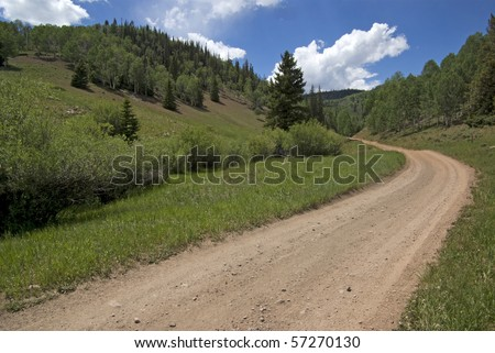 winding dirt lane ascending a mountain