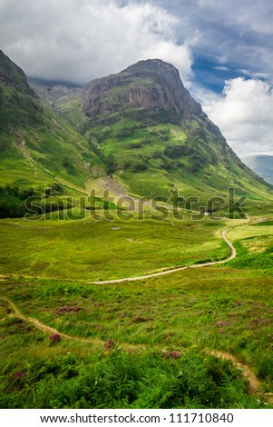 Winding footpath in the Scotland highlands
