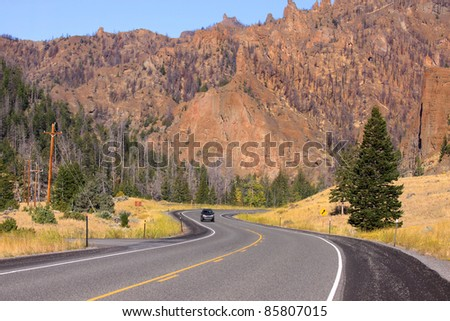 Winding high way near Buffalo Bill state park at Cody Wyoming
