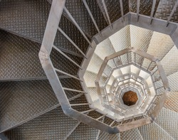 Winding metal staircase