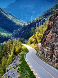 Winding mountain pass highway in canadian rockies