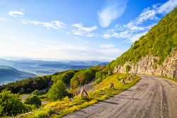 Winding mountain road in Balkan Mountains (Stara planina), Bulgaria. The road to peak Okolchitsa.