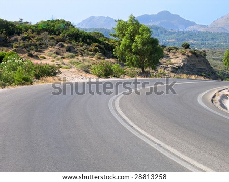 Winding mountain road in Greek island